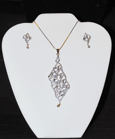 Designer Faux Diamond Necklace Set #D117