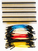 "Qty. 10 of Yellow, Blue, Red, Black & White 3"" Female Jumper Wires and 200 Headers (920-0169-50)"