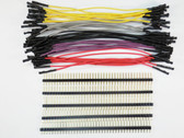 "Schmartboard 10 of Each Grey, Purple, Black, Red and Yellow 5"" Female Jumper Wires With 200 Headers (920-0192-50)"