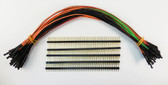 "Schmartboard Qty. 10 of Each Green, Red, Orange, Brown and Black 9"" Female Jumper Wires With 200 Headers (920-0193-50)"