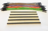 "10 of Each Green, Brown, Grey, Orange and Purple 7"" Female Jumper Wires with 200 Headers(920-0214-50)"