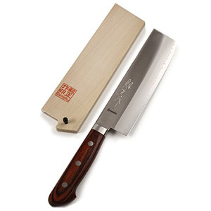 Syosaku Japanese Vegetable Knife VG-1 Gold Stainless Steel Mahogany Handle, Nakiri 6.3-inch (160mm) with Magnoila Wood Saya Cover - Ships from USA