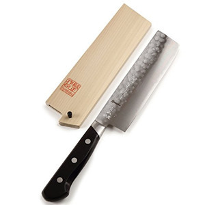Syosaku Japanese Vegetable Knife Aoko(Blue Steel)-No.2 Black Pakkawood Handle, Nakiri 6.3-inch (160mm) with Magnoila Wood Saya Cover - Ships from USA