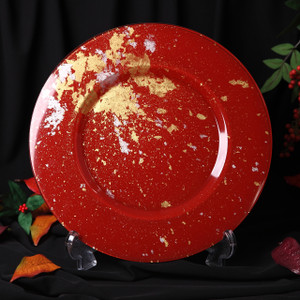 Syosaku Japan Glass Charger Plate-L Φ13.9-inch Vermilion with Gold Leaf, Dishwasher Safe - Ships from USA