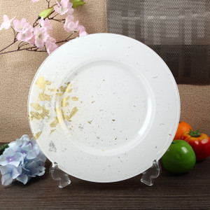 Syosaku Japan Urushi Glass Charger Plate-L Φ13.9-inch Pure White with Gold Leaf, Dishwasher Safe - Ships from USA