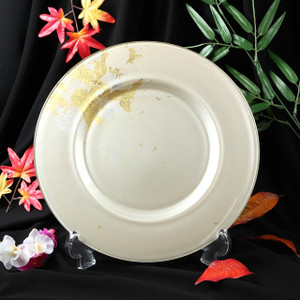Syosaku Japan Urushi Glass Charger Plate-L Φ13.9-inch Majestic White with Gold Leaf, Dishwasher Safe - Ships from USA