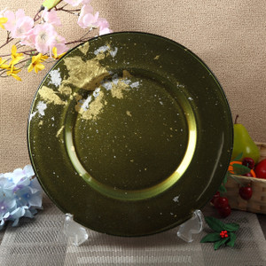 Syosaku Japan Glass Charger Plate-L Φ13.9-inch Majestic Green with Gold Leaf, Dishwasher Safe - Ships from USA