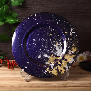 Syosaku Japan Urushi Glass Charger Plate-L Φ13.9-inch Majestic Blue with Gold Leaf - Ships from USA