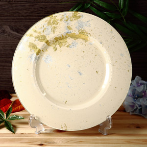 Syosaku Japan Glass Charger Plate-L Φ13.9-inch Light Beige with Gold Leaf, Dishwasher Safe - Ships from USA