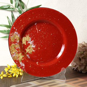 Syosaku Japan Urushi Glass Dinner Plate Φ12.5-inch Vermilion with Gold Leaf, Dishwasher Safe - Ships from USA
