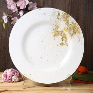 Syosaku Japan Urushi Glass Dinner Plate Φ12.5-inch Pure White with Gold Leaf, Dishwasher Safe - Ships from USA