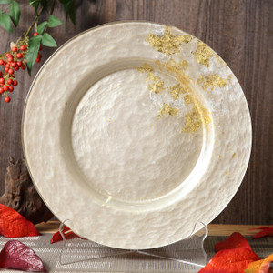 Syosaku Japan Urushi Glass Dinner Plate Φ12.5-inch Majestic White with Gold Leaf, Dishwasher Safe - Ships from USA