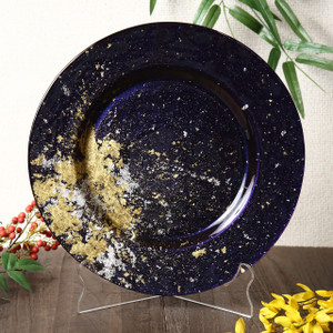 Syosaku Japan Urushi Glass Dinner Plate Φ12.5-inch Majestic Blue with Gold Leaf, Dishwasher Safe - Ships from USA
