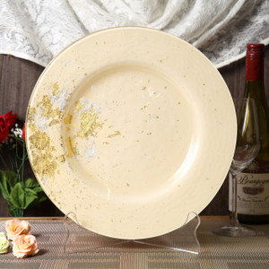 Syosaku Japan Urushi Glass Dinner Plate Φ12.5-inch Light Beige with Gold Leaf, Dishwasher Safe - Ships from USA