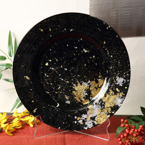 Syosaku Japan Urushi Glass Dinner Plate Φ12.5-inch Jet Black with Gold Leaf, Dishwasher Safe - Ships from USA