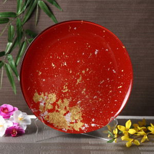 Syosaku Japan Urushi Glass Flat Dinner Plate Φ11-inch Vermilion with Gold Leaf, Dishwasher Safe - Ships from USA
