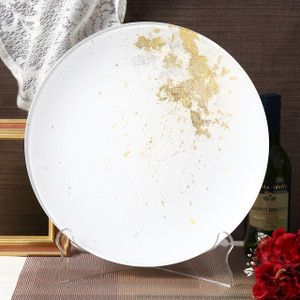 Syosaku Japan Urushi Glass Flat Dinner Plate Φ11-inch Pure White with Gold Leaf, Dishwasher Safe - Ships from USA