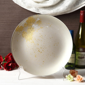 Syosaku Japan Urushi Glass Flat Dinner Plate Φ11-inch Majestic White with Gold Leaf, Dishwasher Safe - Ships from USA