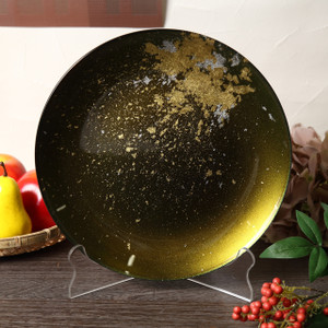 Syosaku Japan Urushi Glass Flat Dinner Plate Φ11-inch Majestic Green with Gold Leaf, Dishwasher Safe - Ships from USA
