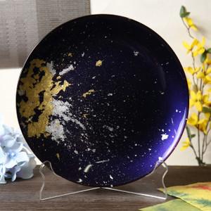 Syosaku Japan Urushi Glass Flat Dinner Plate Φ11-inch Majestic Blue with Gold Leaf, Dishwasher Safe - Ships from USA