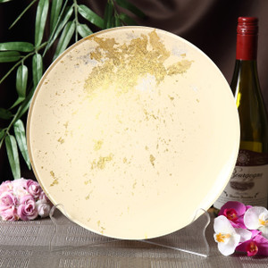 Syosaku Japan Urushi Glass Flat Dinner Plate Φ11-inch Light Beige with Gold Leaf, Dishwasher Safe - Ships from USA