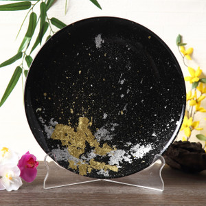 Syosaku Japan Urushi Glass Flat Dinner Plate Φ11-inch Jet Black with Gold Leaf, Dishwasher Safe - Ships from USA