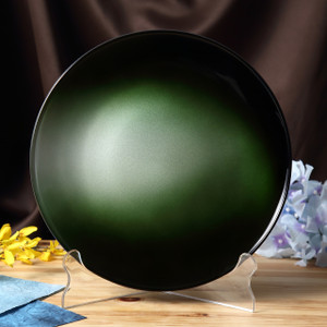 Syosaku Japan Urushi Glass Flat Dinner Plate Φ11-inch Gradation Green, Dishwasher Safe - Ships from USA