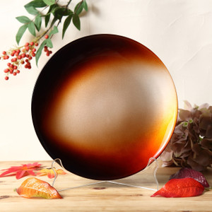 Syosaku Japan Urushi Glass Flat Dinner Plate Φ11-inch Gradation Brown, Dishwasher Safe - Ships from USA