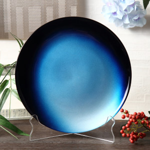 Syosaku Japan Urushi Glass Flat Dinner Plate Φ11-inch Gradation Blue, Dishwasher Safe - Ships from USA