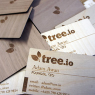 Engraved birch ply / walnut wooden business cards