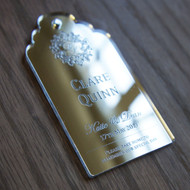 Engraved tags and labels ideal place settings from a variety of clear, mirrored, opal and coloured acrylics