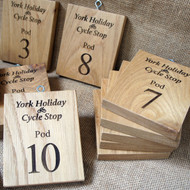 Engraved solid oak signs - offered at a variety of sizes and fixings
