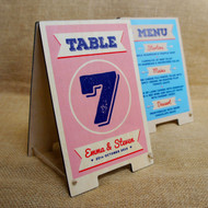 Small wooden table top A Board with double sided printed graphics (an ideal way to display for table top menus and table numbers)