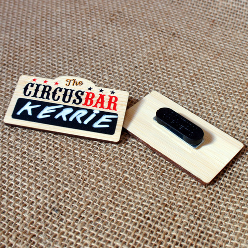 Printed 3mm thick bamboo badges with self write blackboard / chalkboard area