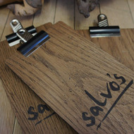Distressed Wooden clipboard with bulldog clip and printed graphics