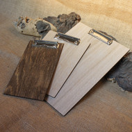 Wooden fixed clip clipboards.