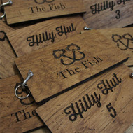 8mm oak keyfobs - distressed wood keyrings with shackle fixing