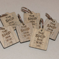 Engraved Wooden Promotional Keyrings / Keyfobs - grey / silver / old look wood