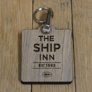 8mm oak keyfobs - distressed wooden keyrings grey /aged look wood