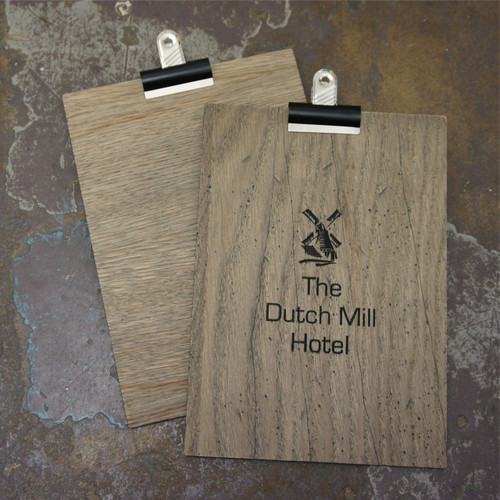 Grey wooden clipboard.  Available in DL, A5 and A4 sizes.  Shown here is the A5 clipboards.  Plain and distressed wood options available.  Supplied with bulldog clip.