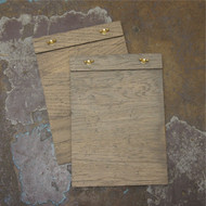 "Wooden wingnut clipboard (unbranded) with rustic grey / silver look wood.  Clamp to the top with brass wingnut fixings.  Available in both distressed and plain wood in sizes to suit DL, A5 and A4 paper. Example shown is the ""distressed wood"" option."