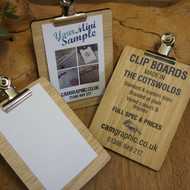 Picture of branded (printed) and unbranded tiny wooden clipboards with silver bulldog clip