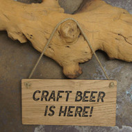 "Pub Signs and Notices - ""Craft Beer is Here"" pub / bar sign produced from 4mm veneered oak mdf."