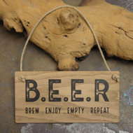 "Wooden Pub Signs - ""B.E.E.R. Brew. Enjoy. Empty. Repeat - POS wooden sign"