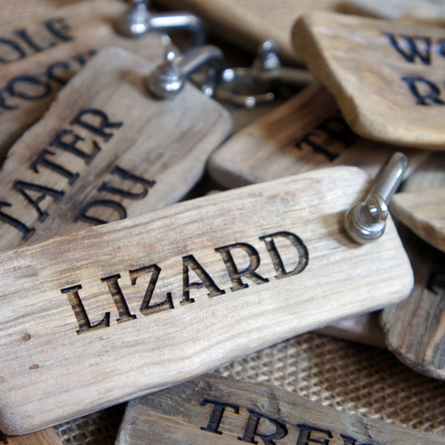 Large Driftwood Keyrings with marine shackle - artwork is engraved into the wood