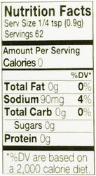 Nutrition facts for Simple Girl sugar-free spices
