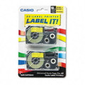 Casio XR18YW2S 18mm Black on Yellow Tape Cassettes, 2/Pack