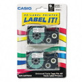 Casio XR9X2S 3/8 In. Black on Clear Tape Cassettes, 2/Pack