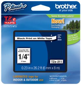 TZe211 Black On White Ptouch Tape