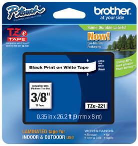 TZe221 Black On White Ptouch Tape